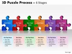 Business Diagram 3d Puzzle Process 6 Stages Strategic Management