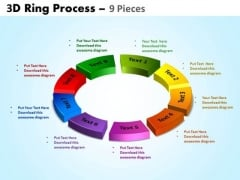Business Diagram 3d Ring Process 9 Pieces Sales Diagram