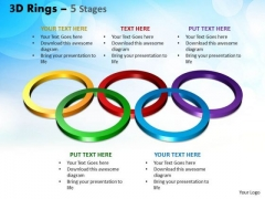 Business Diagram 3d Rings 5 Stages Sales Diagram
