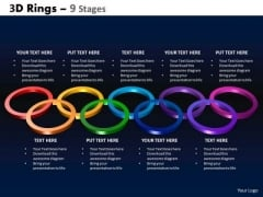 Business Diagram 3d Rings 9 Stages Consulting Diagram