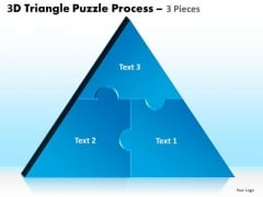 Business Diagram 3d Triangle Puzzle Process 3 Pieces Sales Diagram