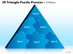 Business Diagram 3d Triangle Puzzle Process 6 Pieces Strategic Management
