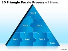 Business Diagram 3d Triangle Puzzle Process 7 Pieces Sales Diagram
