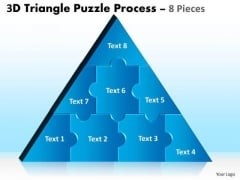 Business Diagram 3d Triangle Puzzle Process 8 Pieces Sales Diagram