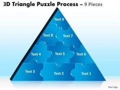Business Diagram 3d Triangle Puzzle Process 9 Pieces Sales Diagram