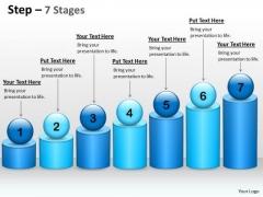 Business Diagram 7 Steps For Linear Flow Sales Diagram