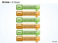 Business Diagram Arrow 6 Stages Draft Strategy Diagram