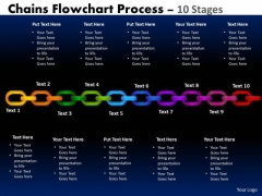 Business Diagram Chains Flowchart Process Diagram 10 Stages Marketing Diagram