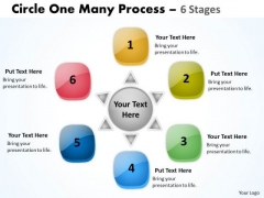 Business Diagram Circle One Many Process 6 Stages Strategic Management