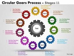 Business Diagram Circular Gears Flowchart Process Diagram Stages 11 Sales Diagram