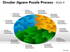 Business Diagram Circular Jigsaw Puzzle Process Style 4 Sales Diagram