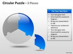 Business Diagram Circular Puzzle 3 Pieces Sales Diagram
