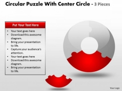 Business Diagram Circular Puzzle With Center And 3 Pieces Marketing Diagram