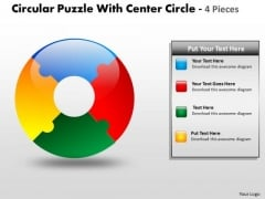 Business Diagram Circular Puzzle With Center Circle 4 Pieces Sales Diagram