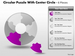 Business Diagram Circular Puzzle With Center Circle 6 Pieces Consulting Diagram