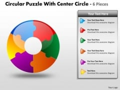 Business Diagram Circular Puzzle With Center Circle 6 Pieces Sales Diagram