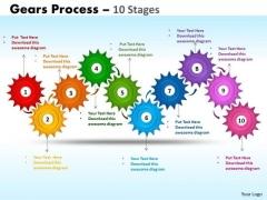 Business Diagram Gears Process 10 Stages Sales Diagram