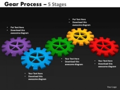 Business Diagram Gears Process 5 Stages Style Sales Diagram