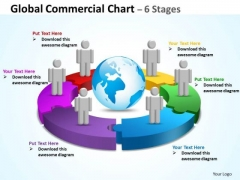 Business Diagram Global Commercial Chart 6 Stages Sales Diagram