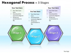 Business Diagram Hexagonal Process 3 Stages Sales Diagram