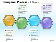 Business Diagram Hexagonal Process 4 Stages Business Framework Model