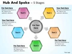 Business Diagram Hub And Spoke 5 Stages Consulting Diagram