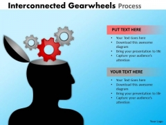 Business Diagram Interconnected Gearwheels Process Strategy Diagram