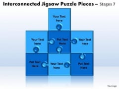 Business Diagram Interconnected Jigsaw Puzzle Pieces Stages 7 Sales Diagram
