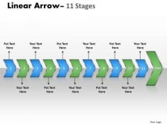 Business Diagram Linear Arrow 11 Stages Sales Diagram