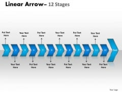 Business Diagram Linear Arrow 12 Stages Sales Diagram
