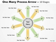 Business Diagram One Many Process Arrow 10 Stages Consulting Diagram