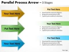 Business Diagram Parallel Process Arrow 3 Stages Business Framework Model