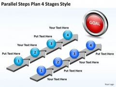 Business Diagram Parallel Steps Plan 4 Stages Style Strategy Diagram