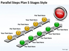 Business Diagram Parallel Steps Plan 5 Stages Style Consulting Diagram
