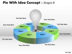 Business Diagram Pie With Idea Concept Stages 8 Circular Marketing Diagram