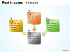 Business Diagram Post It Notes 3 Stages Consulting Diagram