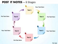 Business Diagram Post It Notes 6 Stages Sales Diagram