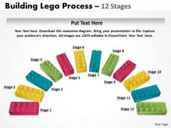 Business Diagram Semi Building Blocks 12 Stages Sales Diagram
