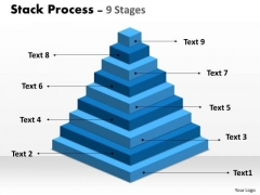 Business Diagram Stack Process With 9 Stages For Business Growth Marketing Diagram