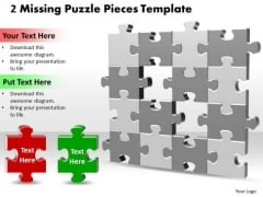 Business Finance Strategy Development 2 Missing Puzzle Pieces Business Diagram