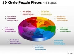 Business Finance Strategy Development 3d Circle Puzzle Diagram 9 Stages Consulting Diagram