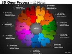 Business Finance Strategy Development 3d Gear Process 12 Pieces Sales Diagram