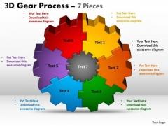Business Finance Strategy Development 3d Gear Process 7 Pieces Sales Diagram
