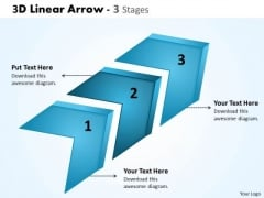 Business Finance Strategy Development 3d Linear Arrow 3 Stages Business Diagram