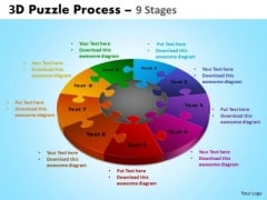 Business Finance Strategy Development 3d Puzzle Process Diagram 9 Stages Consulting Diagram
