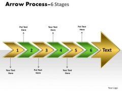Business Finance Strategy Development Arrow Process 6 Stages Sales Diagram