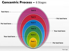 Business Finance Strategy Development Concentric Process Colorful 6 Stages Sales Diagram
