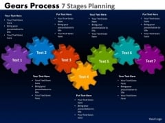 Business Finance Strategy Development Gears Process 7 Stages Planning Consulting Diagram