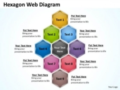 Business Finance Strategy Development Hexagon Web Diagram Sales Diagram