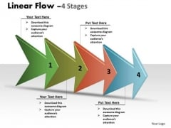 Business Finance Strategy Development Linear Arrow Process 4 Stages Sales Diagram